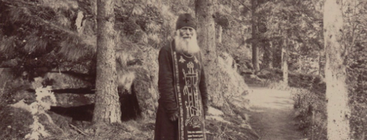 Old Russian Monk In Woods - Creepy