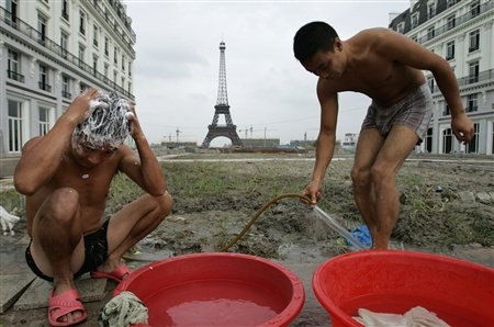 Tianducheng Chinese Fake Paris - men washing