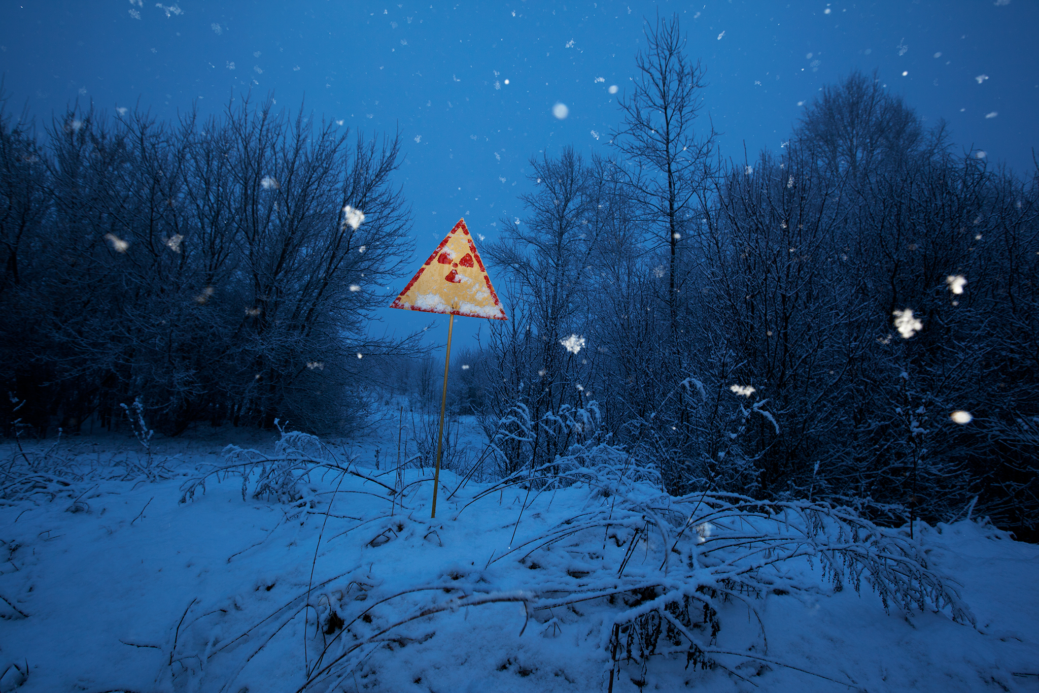 Chernobyl Winter Radiation Sign Post