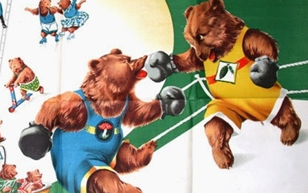 Vintage Russian Circus Posters - bears fighting boxing