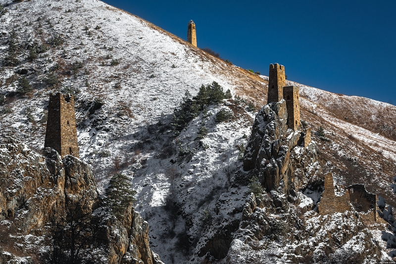 Ingushetia Watch Towers Russia History snow covered mountain