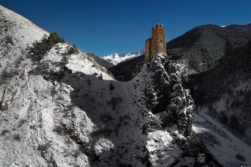 Ingushetia Watch Towers Russia on mountain