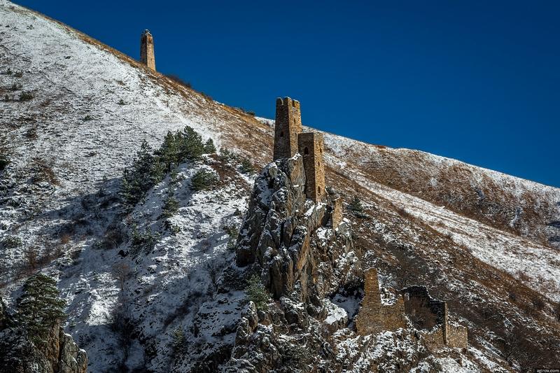 Ingushetia Watch Towers Russia rocky outcrop