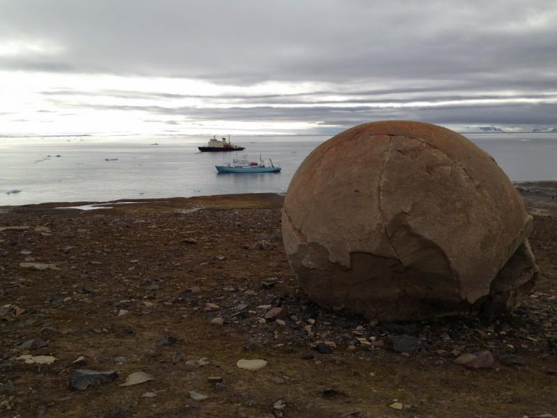 Champ Island Stone Spheres - arctic boats