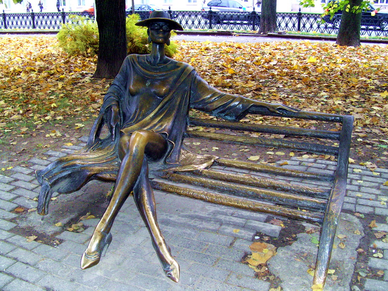 Statue of Woman on bench, Minsk Belarus