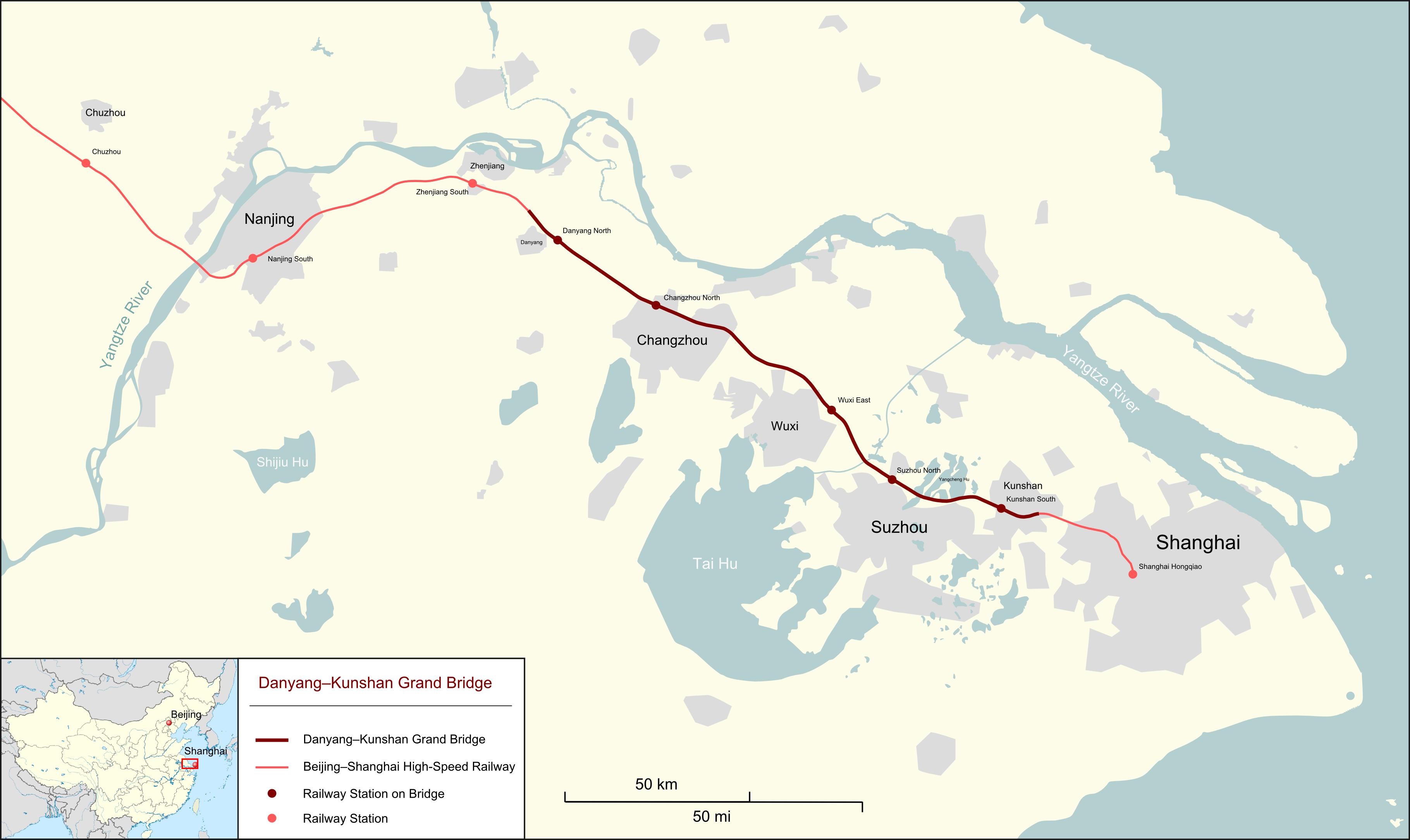Danyang Kunshan Grand Bridge Map