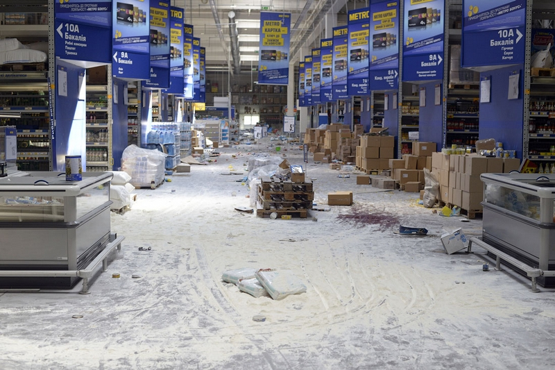 Donetsk Airport Battle Supermarket Looted - flour covering floor