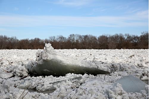Ice flow river russia bridge