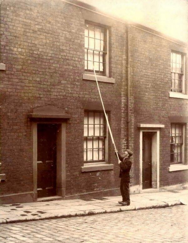 Interesting Old Photos Rare - knocker up early 1900s
