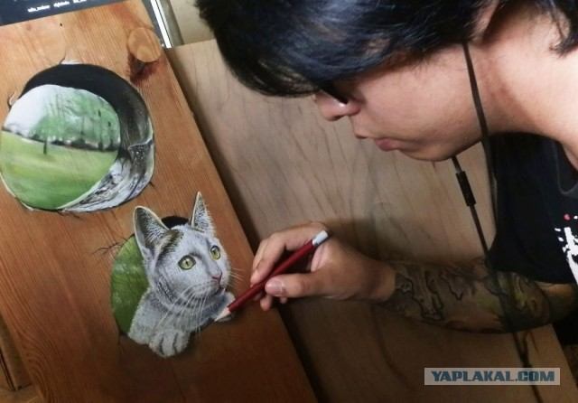 Ivan Hoo - Hyper Realistic Wood - viewing hole with cat