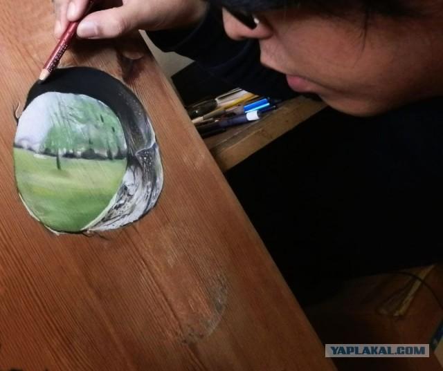 Ivan Hoo - Hyper Realistic Wood - viewing hole
