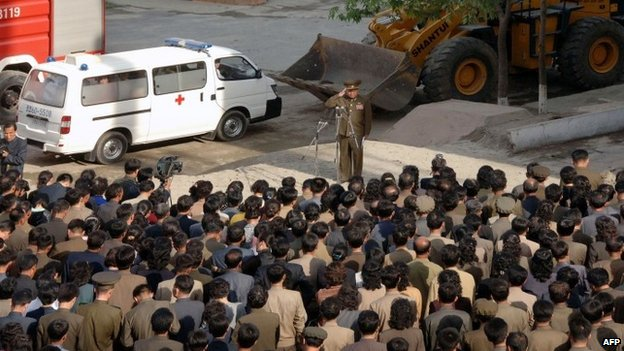 North Korea - Construction accident - Official visit