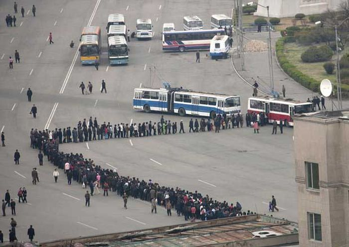 North Korea Rare Deleted Photos - bus queue