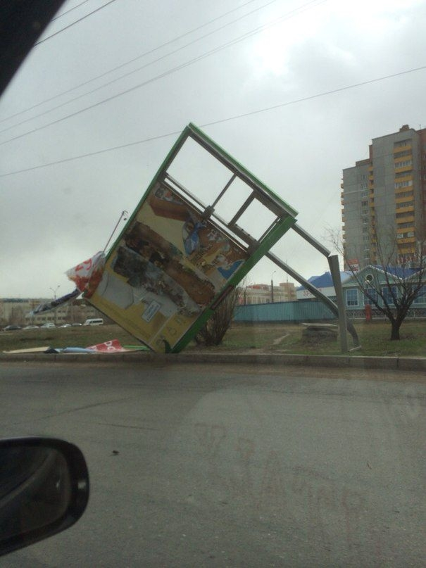 Omsk High Winds Russia - Broken Sign