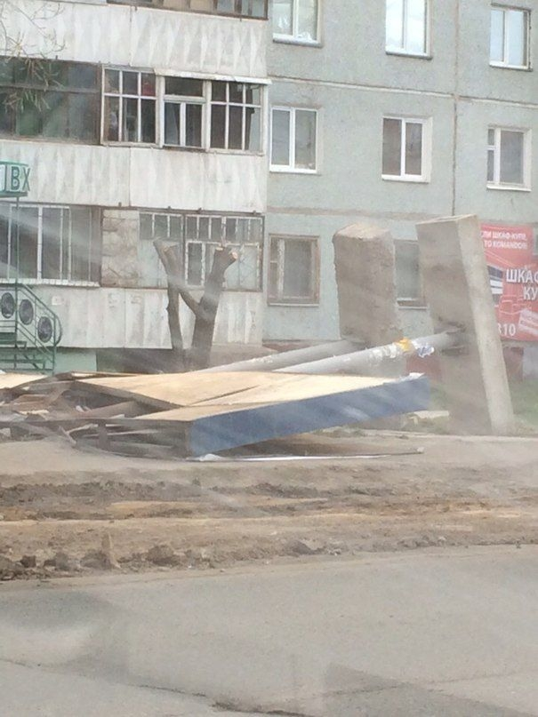 Omsk High Winds Russia - advert fallen down