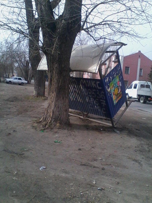 Omsk High Winds Russia - lazy bus stop