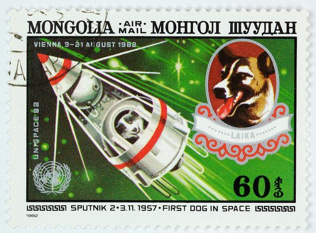 Stamp Mongolia - space dog Leika