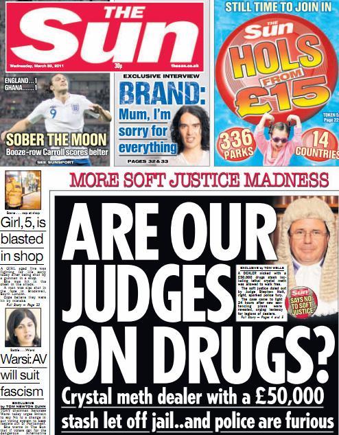 The Sun - Stupid Headlines - Judges on Drugs