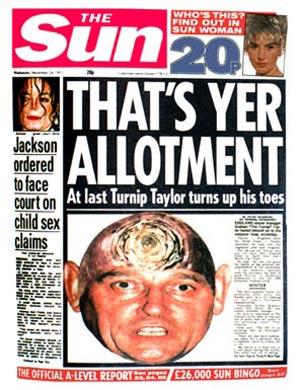 The Sun - Stupid Headlines - Turnip