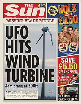 The Sun - Stupid Headlines - UFO hits turbine