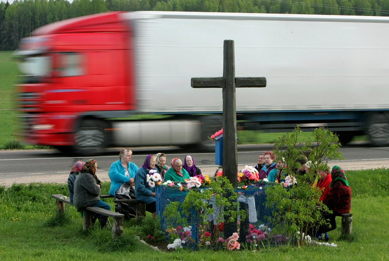 Belarus Village Life - Chruch service by a road