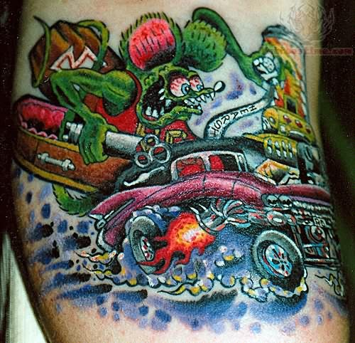 Monster Tattoos Best - monster and car