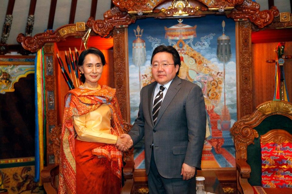 Tsakhiagiin Elbegdorj With Aung San Suu Kyi