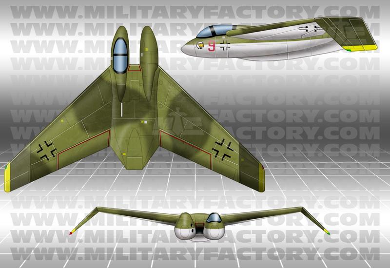 German Prototypes Heinkel He P.1078B Jet-Powered Tailless Fighter  Interceptor  Night Fighter (1945)
