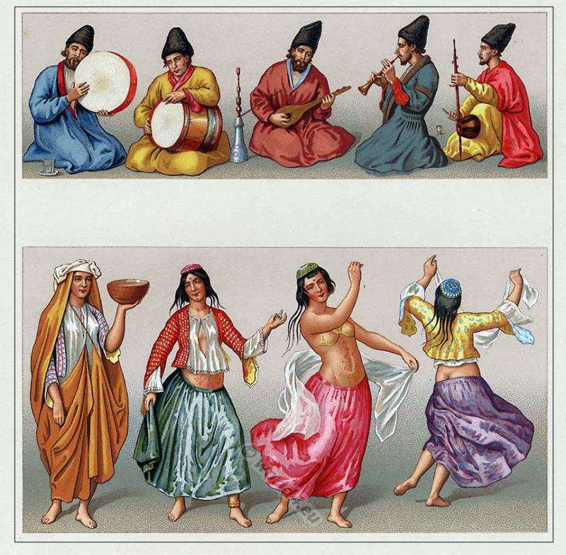 Medieval Persian Ottoman Clothes - Motrebs dancers and musicians