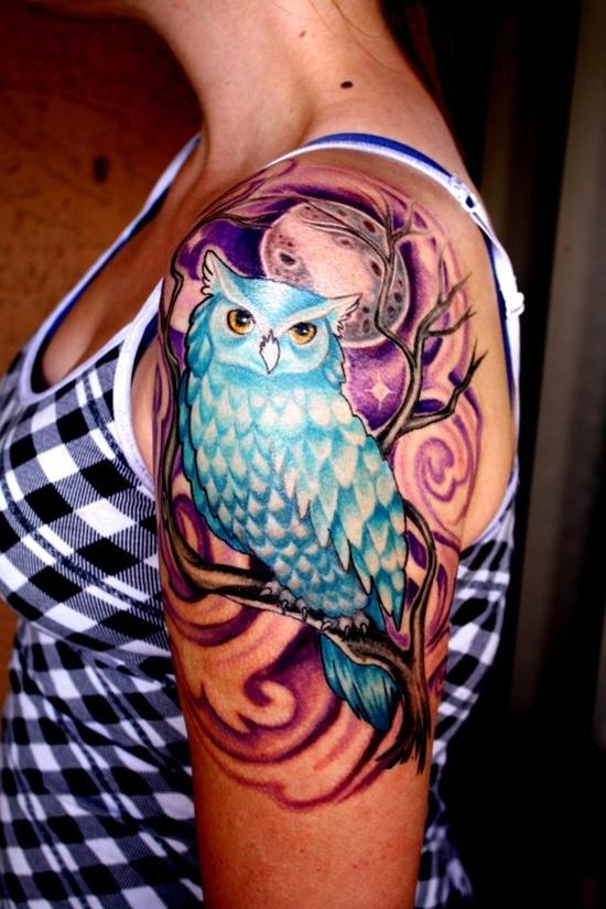 Owl Tattoo - Blue