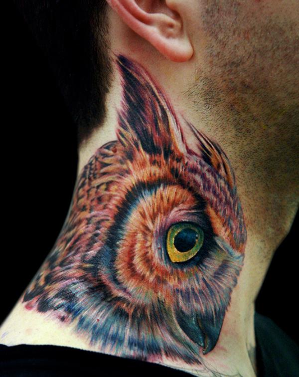 Owl Tattoo - Colourful neck
