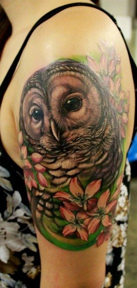 Owl Tattoo - Floral