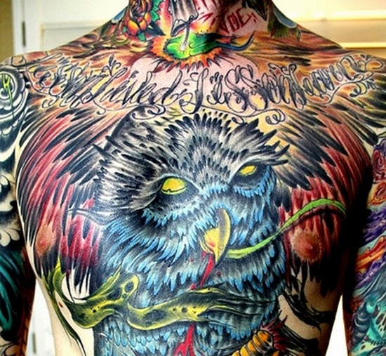 Owl Tattoo - Full Chest and Abdomen