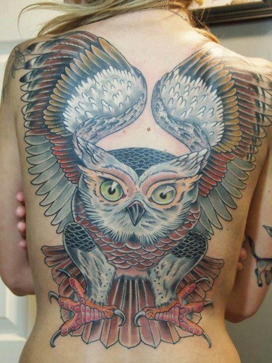 Owl Tattoo - Huge back owl