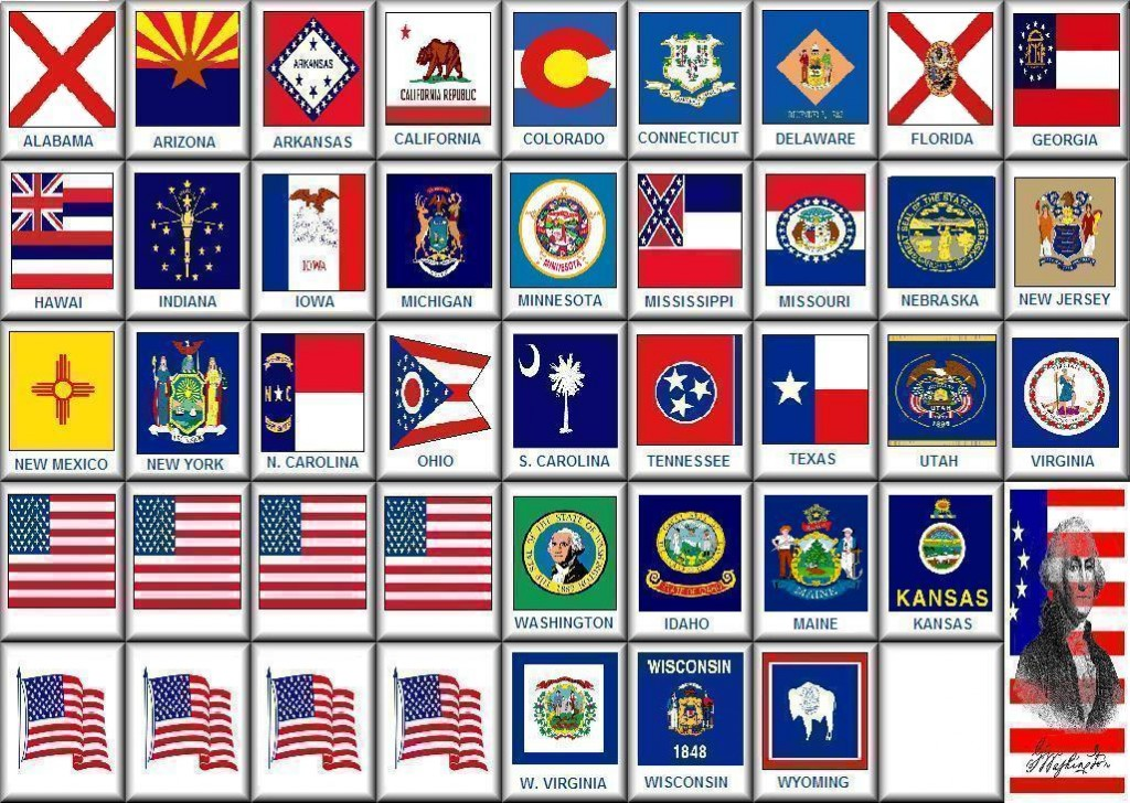 All The United States of America State Flags