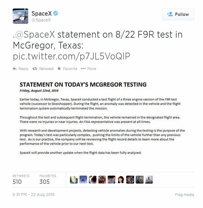 SpaceX Explosion Tweet