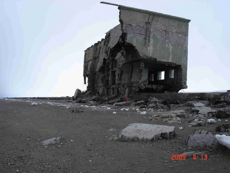 Abandoned Beach - crumbling homes in Kamchatka, Russia