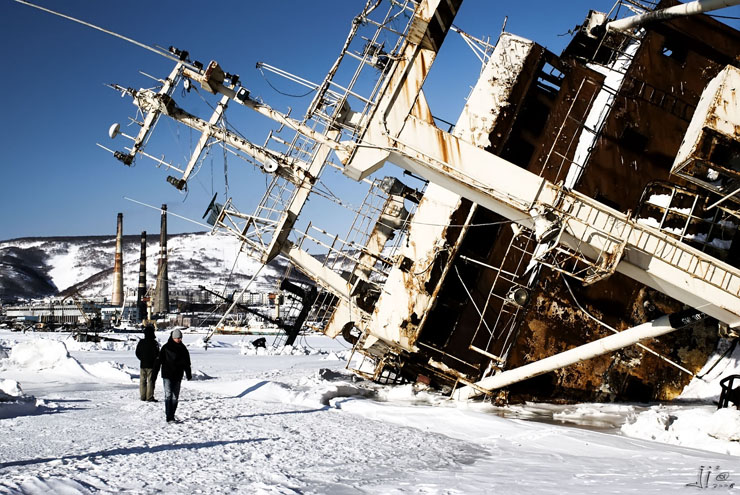 Abandoned Ship in ice - Kamchatka, Russia