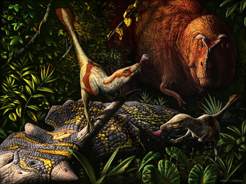 Best Paleoart - Julius Csotonyi Acheroraptor beats T. rex