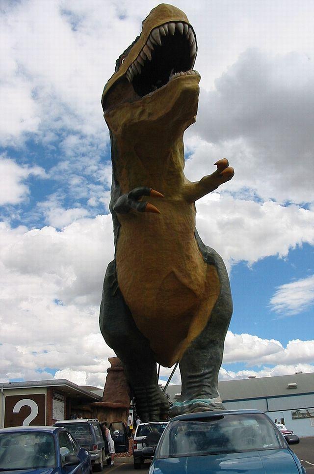 Drumheller Dinosaur Largest In World carpark