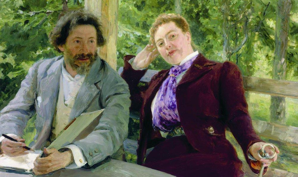 Ilya Repin - Self-portrait with Natalia Nordman (1903)