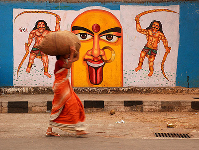 India Graffiti - Random - woman infront of art