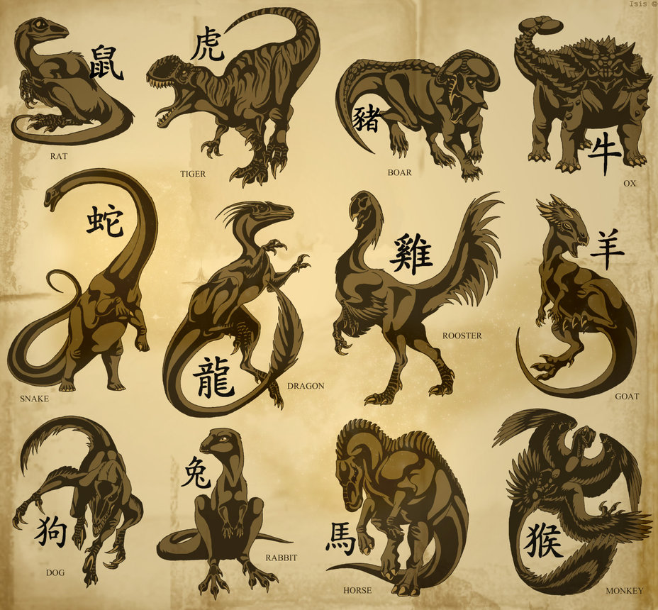Misc - Chinese Dinosaur Zodiac -  IsisMasshiro