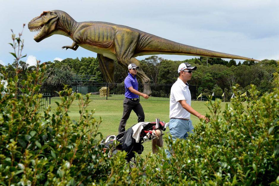 Palmer Coolum Resort - t rex on golf course 2