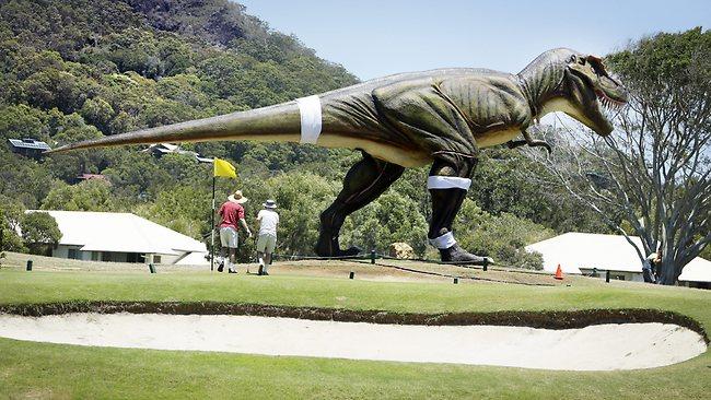 Palmer Coolum Resort - t rex on golf course