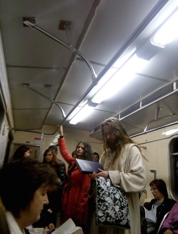 Russian Jesus on a train