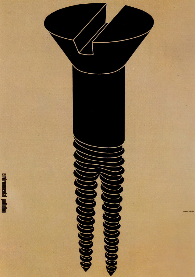 Vintage Japanese political posters - Environmental pollution - Shigeo Fukuda, 1973 c