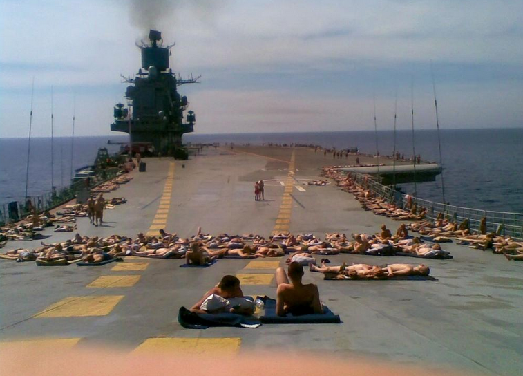 Best Russia Pictures - Admiral Kuznetsov Aircraft Carrier Crew near Cyprus