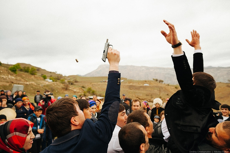 Wedding in Dagestan - shotting into the air
