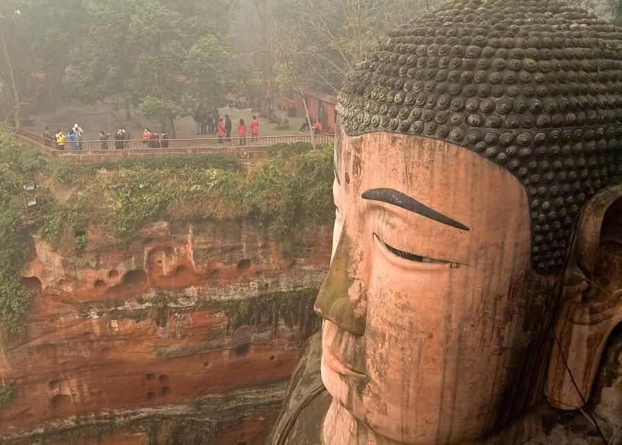 Leshan Giant Buddha - China - Left cheek